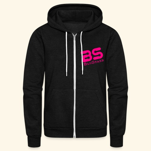 Unisex Fleece Zip Hoodie by American Apparel w/Neon Pink Logo - Unisex Fleece Zip Hoodie