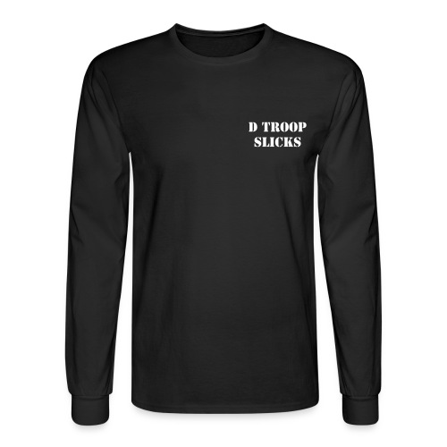 D Troop SLICKS with Wings on Back WHITE Letters - Men's Long Sleeve T-Shirt