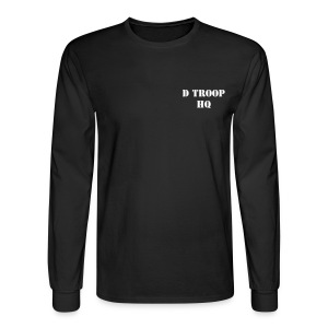 D Troop HQ with Wings on Back WHITE Letters - Men's Long Sleeve T-Shirt
