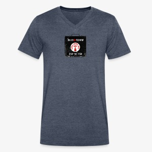 Stop The Fear Men's Dark Grey V - Men's V-Neck T-Shirt by Canvas