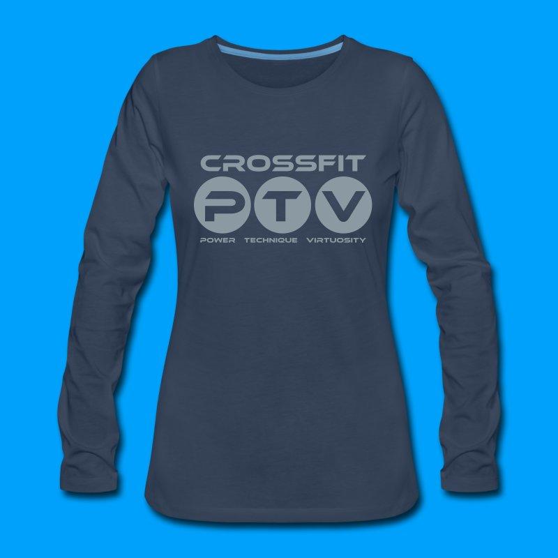 Crossfit ptv design women 39 s premium long sleeve t shirt for Cross counter tv shirts