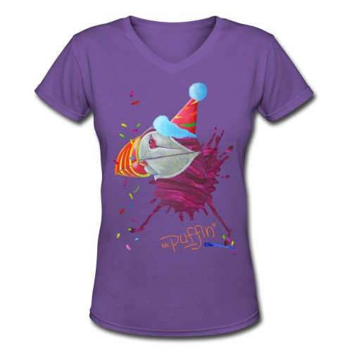 MR. PUFFIN - front print - s/xxl - multi colors - Women's V-Neck T-Shirt