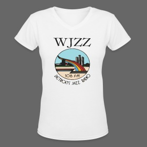 WJZZ 106 FM Detroits Jazz Radio - Women's V-Neck T-Shirt
