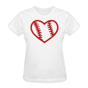 Red Glitter Baseball Heart - Women's T-Shirt