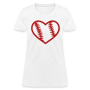 Red Glitter Baseball Heart - Women's T-Shirt