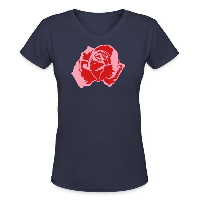 Lil Pink Rose - Women's V-Neck T-Shirt