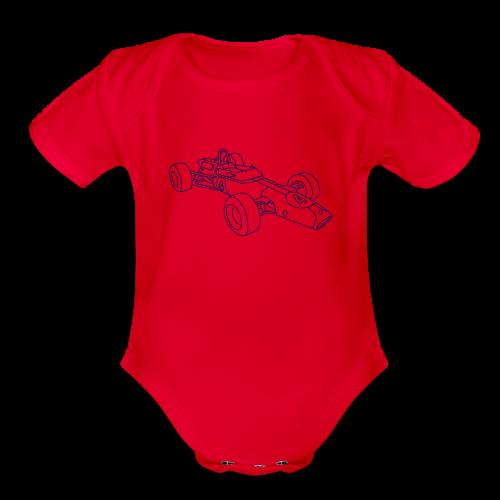 Racecar / racing car - Organic Short Sleeve Baby Bodysuit