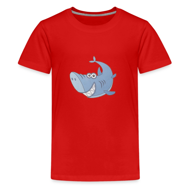 Big Blue Cartoon Shark - Kids' Premium T-Shirt