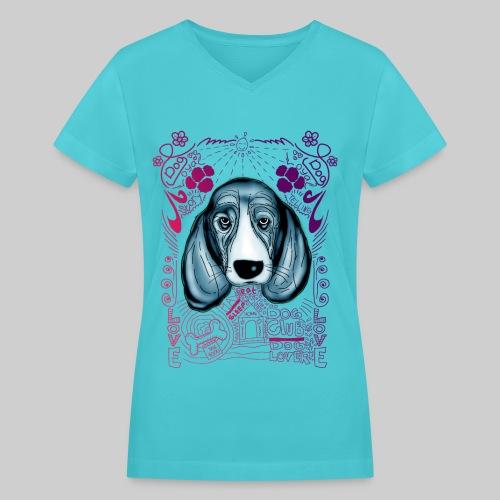 dog story telling - Women's V-Neck T-Shirt