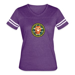 Monkey & Flower Women's V-Neck Tri-Blend Ringer T-Shirt - Women's Vintage Sport T-Shirt