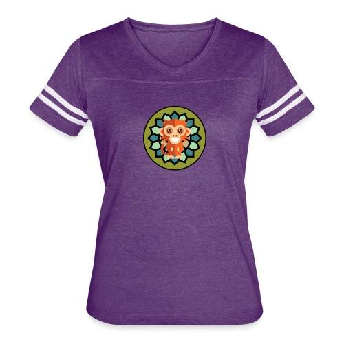 Monkey & Flower Women's V-Neck Tri-Blend Ringer T-Shirt - Women's Vintage Sport T-Shirt