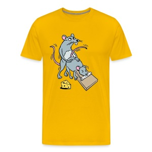 Mouse Screwing a Mouse in a Mousetrap Funny Joke - Men's Premium T-Shirt