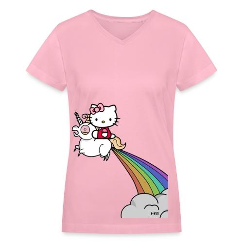 Kitty on a Unicorn - Women's V-Neck T-Shirt