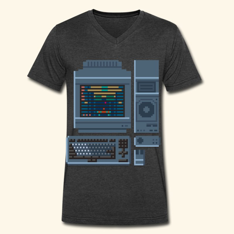 Japanese Computer FMT 1 - Men's V-Neck T-Shirt by Canvas