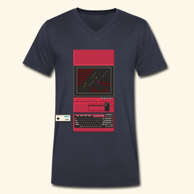 Japanese Computer X1 - Men's V-Neck T-Shirt by Canvas