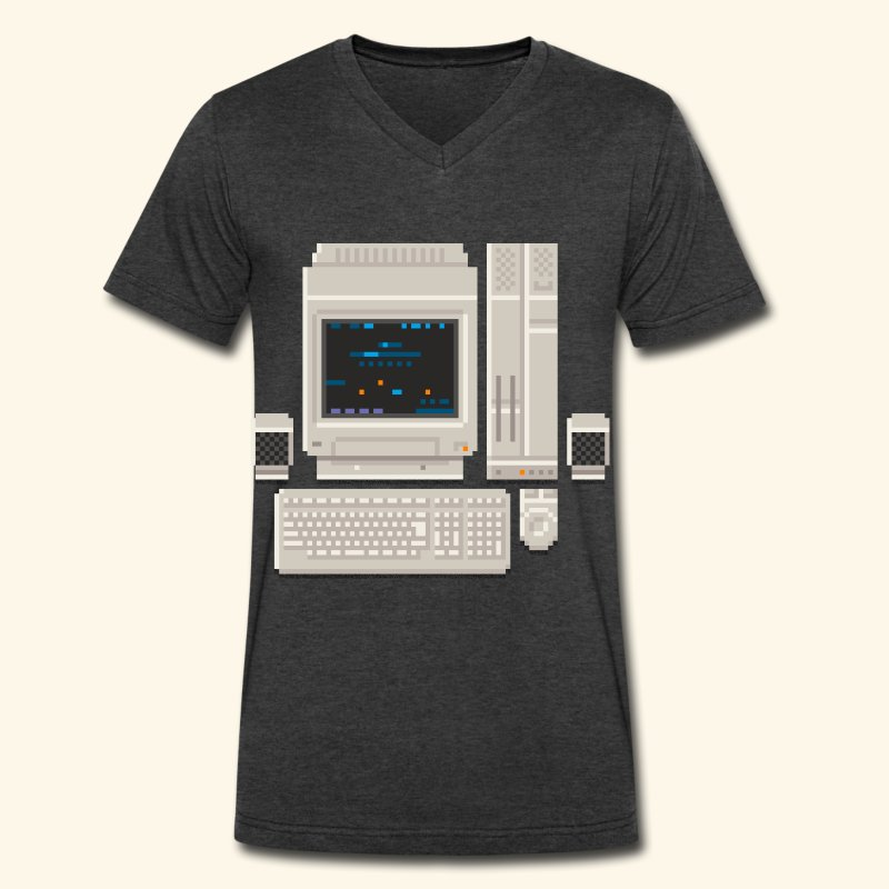 Japanese Computer X68000a - Men's V-Neck T-Shirt by Canvas