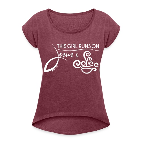 Women´s Rolled Sleeve Boxy T-Shirt - Jesus & Coff - Women's Roll Cuff T-Shirt