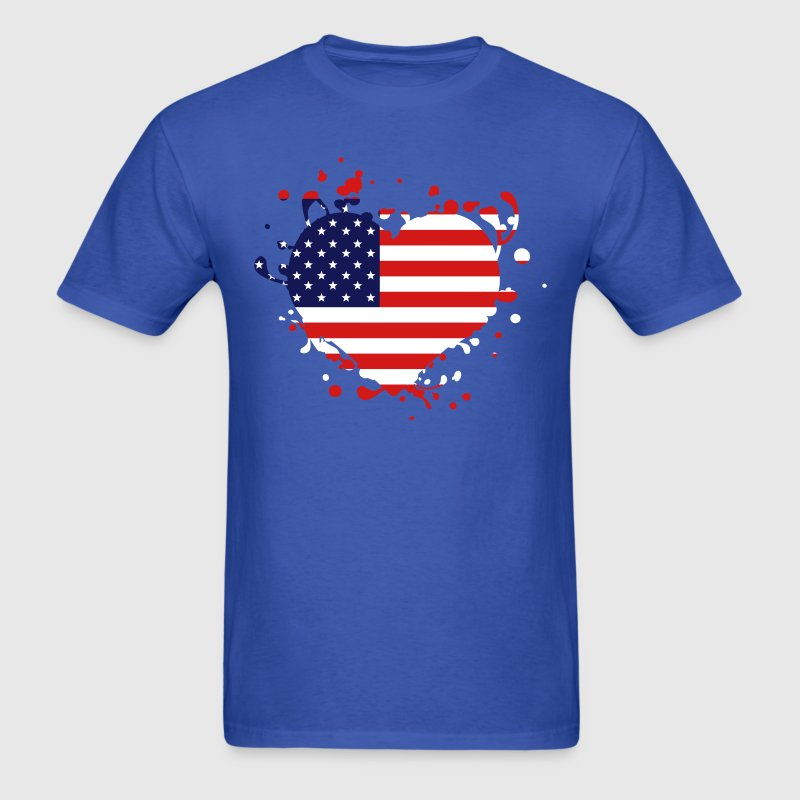 us america american flag united states heart - Men's T-Shirt