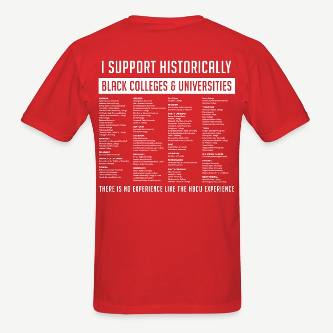 Historically Black Colleges (HBCUs Listed on Back) - Red and White Shirt