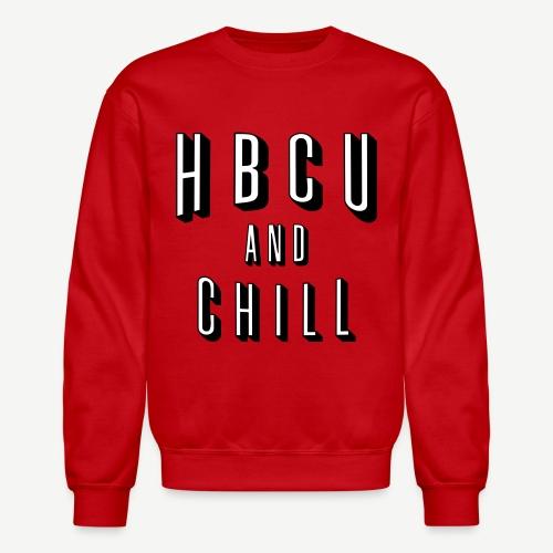 HBCU And Chill - Men's White, Black and Red Sweatshirt - Crewneck Sweatshirt