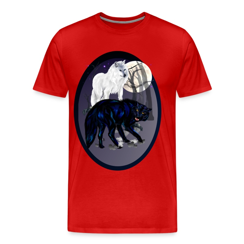 Two Wolves oval - Men's Premium T-Shirt