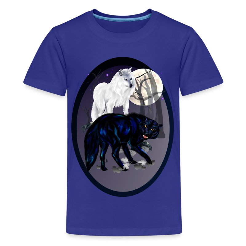 Two Wolves oval - Kids' Premium T-Shirt