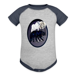 Two Wolves oval - Baby Contrast One Piece