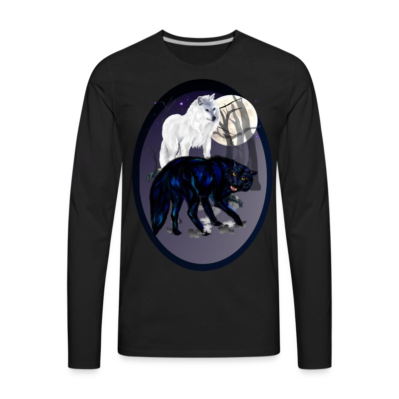 Two Wolves oval - Men's Premium Long Sleeve T-Shirt