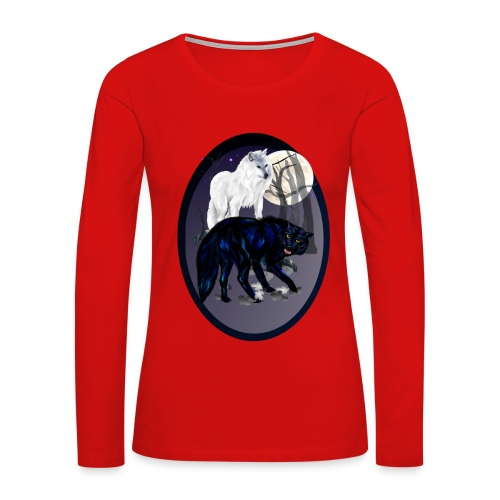 Two Wolves oval - Women's Premium Long Sleeve T-Shirt