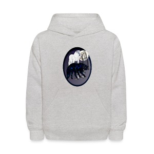 Two Wolves oval - Kids' Hoodie