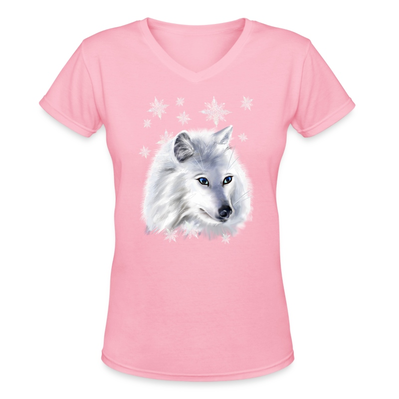 WHITE SNOW WOLF  - Women's V-Neck T-Shirt