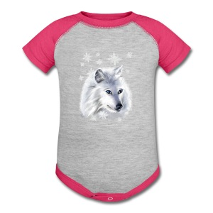 WHITE SNOW WOLF  - Baby Contrast One Piece