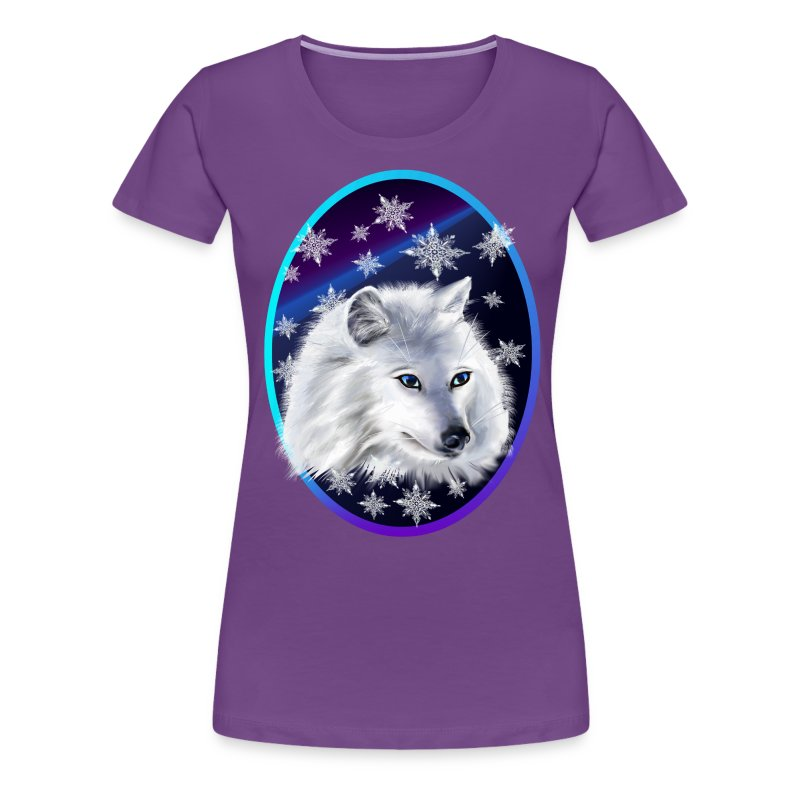 WHITE SNOW WOLF  oval - Women's Premium T-Shirt