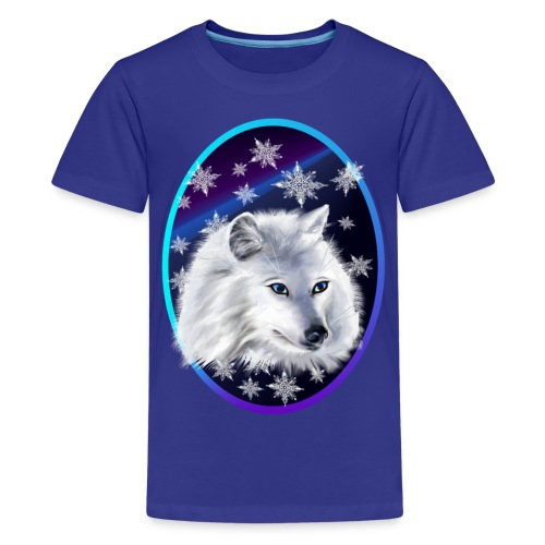 WHITE SNOW WOLF  oval - Kids' Premium T-Shirt