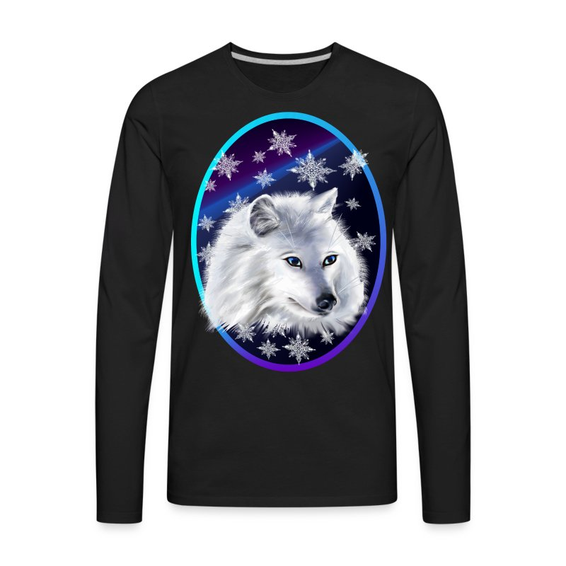 WHITE SNOW WOLF  oval - Men's Premium Long Sleeve T-Shirt