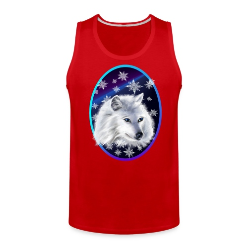 WHITE SNOW WOLF  oval - Men's Premium Tank