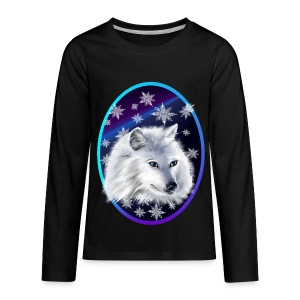 WHITE SNOW WOLF  oval - Kids' Premium Long Sleeve T-Shirt