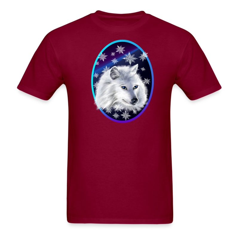 WHITE SNOW WOLF  oval - Men's T-Shirt