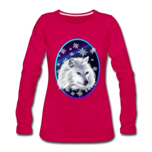 WHITE SNOW WOLF  oval - Women's Premium Long Sleeve T-Shirt