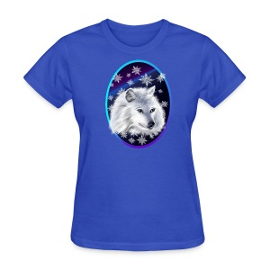 WHITE SNOW WOLF  oval - Women's T-Shirt