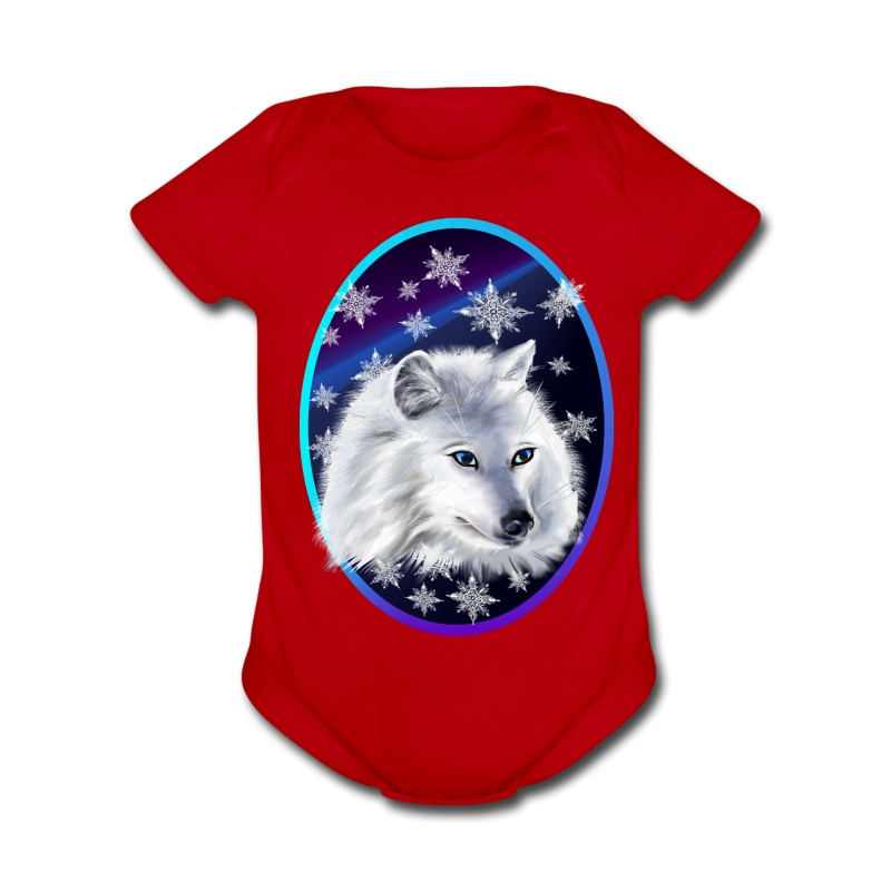 WHITE SNOW WOLF  oval - Short Sleeve Baby Bodysuit