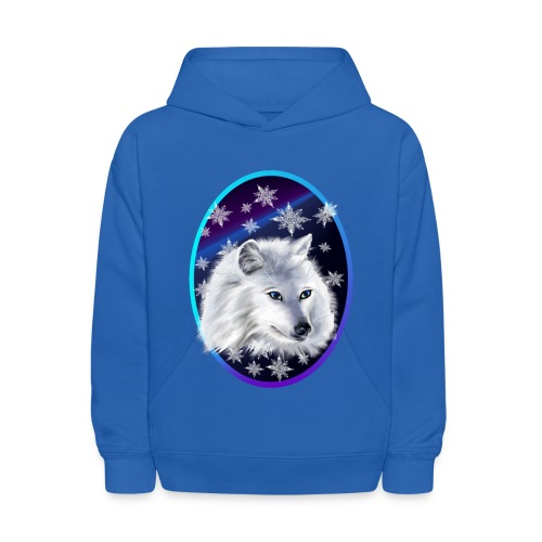 WHITE SNOW WOLF  oval - Kids' Hoodie