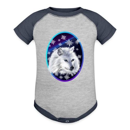 WHITE SNOW WOLF  oval - Baby Contrast One Piece