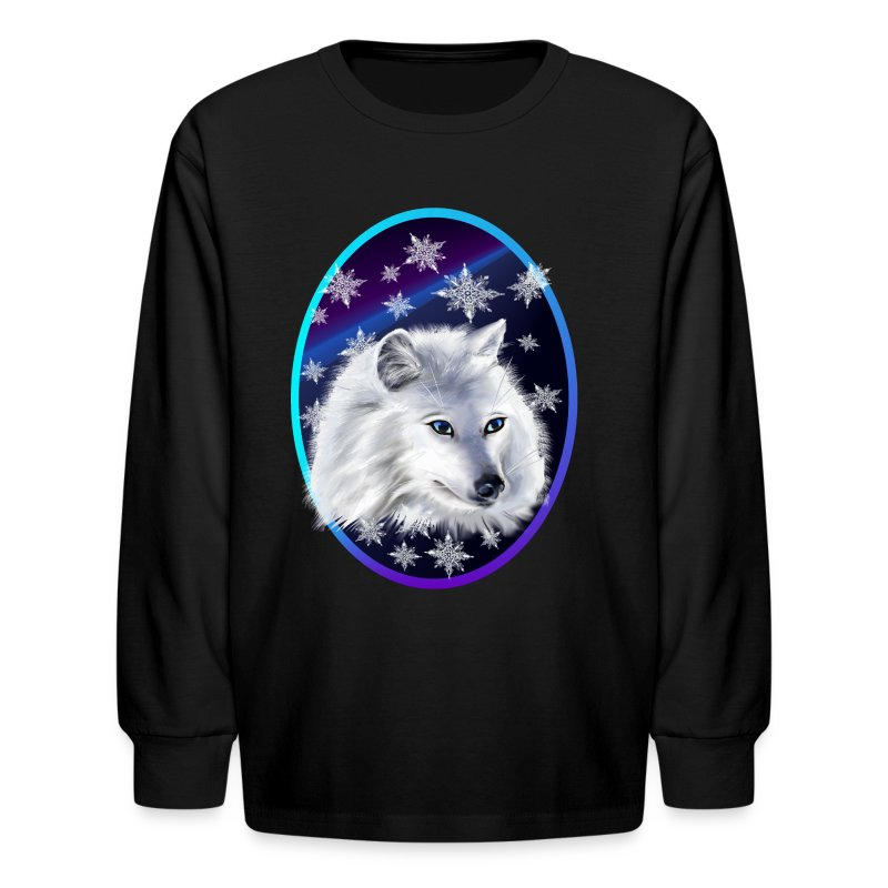 WHITE SNOW WOLF  oval - Kids' Long Sleeve T-Shirt