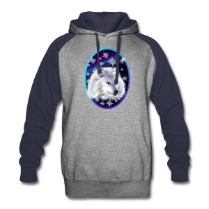 WHITE SNOW WOLF  oval - Colorblock Hoodie