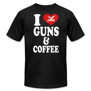 I Love Guns & Coffee - Men's T-Shirt by American Apparel