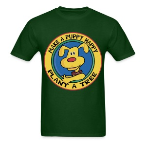 Make A Puppy Happy Plant A Tree Men's Forest Green T-Shirt - Men's T-Shirt