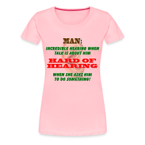 Women's Premium T- Man Hard of Hearing Front - Women's Premium T-Shirt