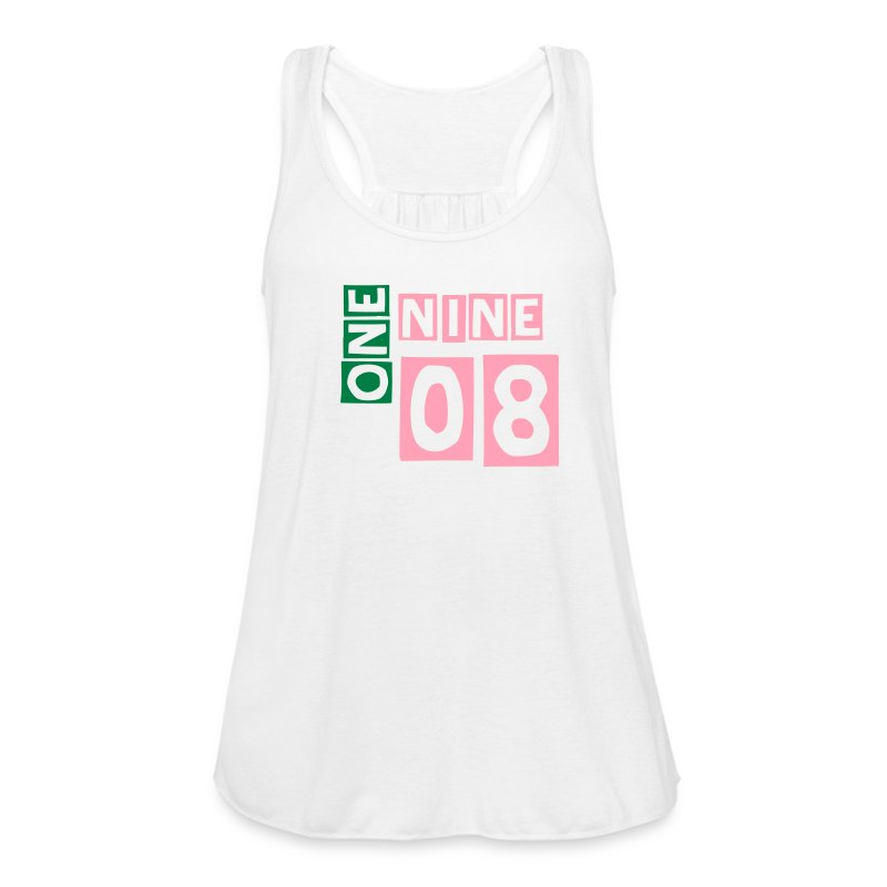 1908 Alpha Kappa Alpha - pink and green lettering - Women's Flowy Tank Top by Bella