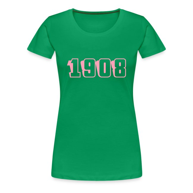1908 fitted tee (pink text)